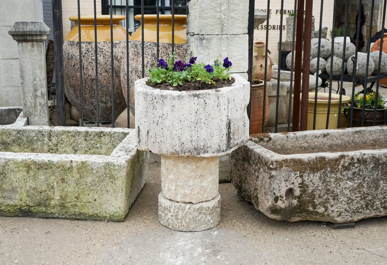 Gothic Style Limestone Baptismal Font with Base For Sale 1
