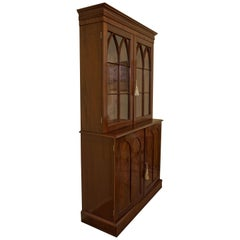 Gothic Style Mahogany Collectors Cabinet on Bookcase, circa 1830