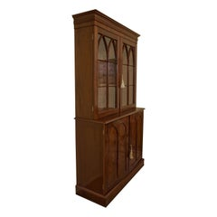 Gothic Style Mahogany Collectors Cabinet on Bookcase, circa 1830