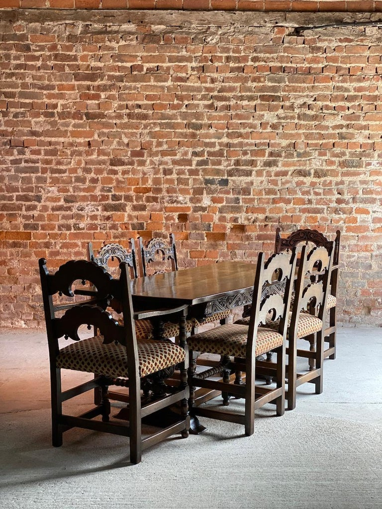 Gothic Style Oak Refectory Table and Six Chairs Set of 1 For Sale 7