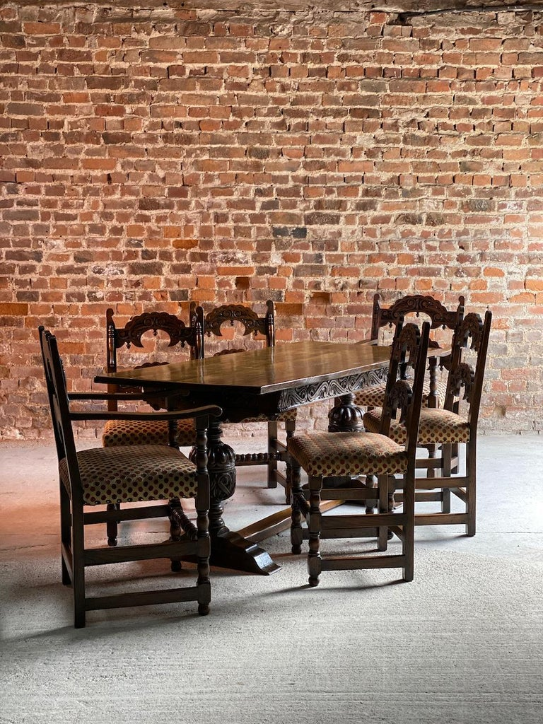 Gothic Style Oak Refectory Table and Six Chairs Set of 1 For Sale 2