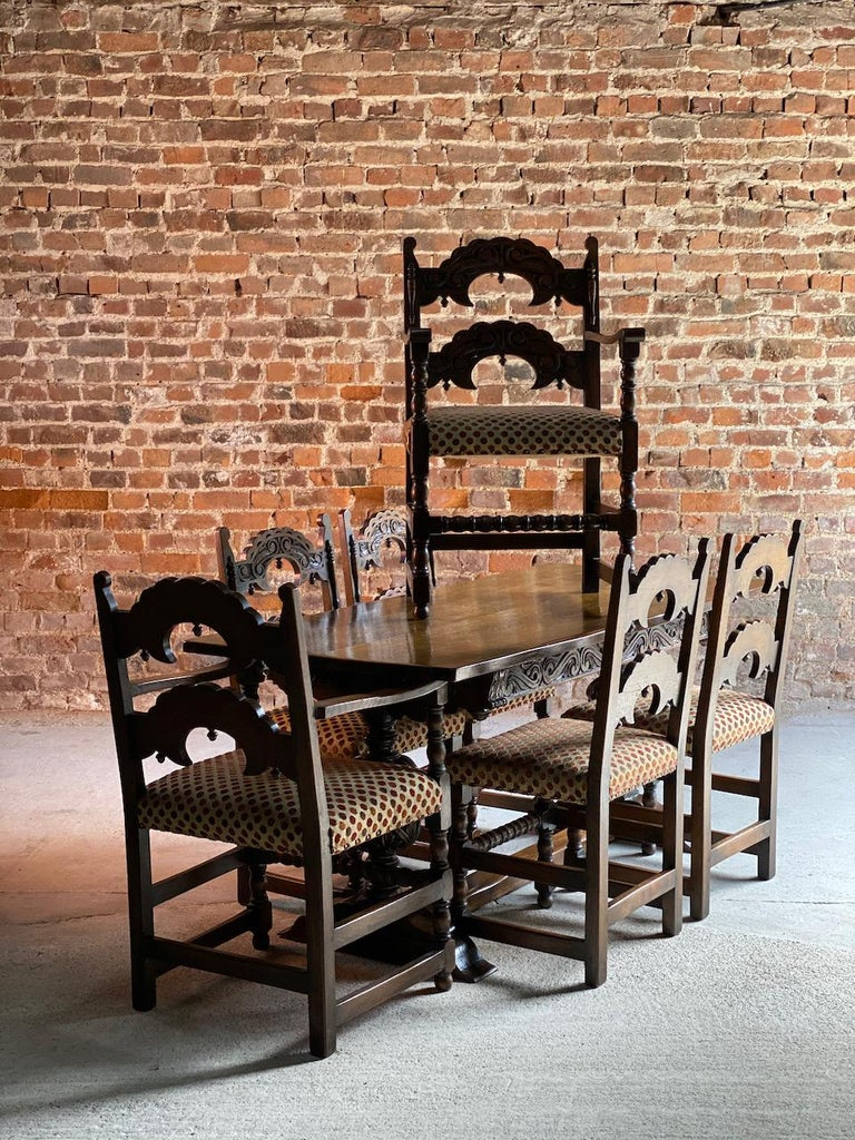 Gothic Style Oak Refectory Table and Six Chairs Set of 1 For Sale 3