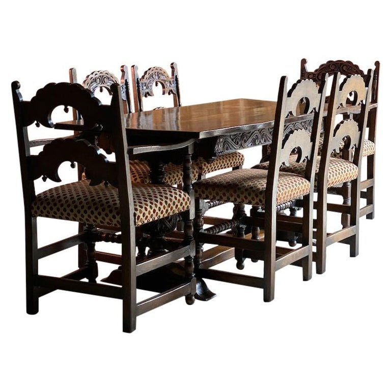 Gothic Style Oak Refectory Table and Six Chairs Set of 1 For Sale