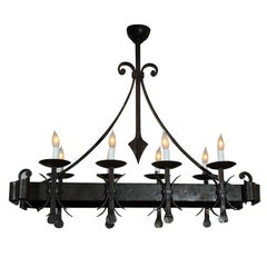 Gothic Style Painted Iron Chandelier