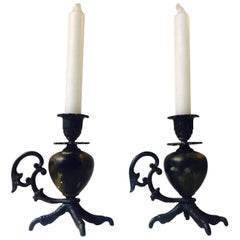 Gothic Talon, Rooster Claw Chamber Candlesticks, Early 20th Century