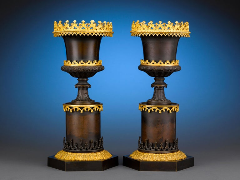 Gothic Two-Color Bronze Urns In Excellent Condition For Sale In New Orleans, LA