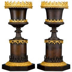Gothic Two-Color Bronze Urns
