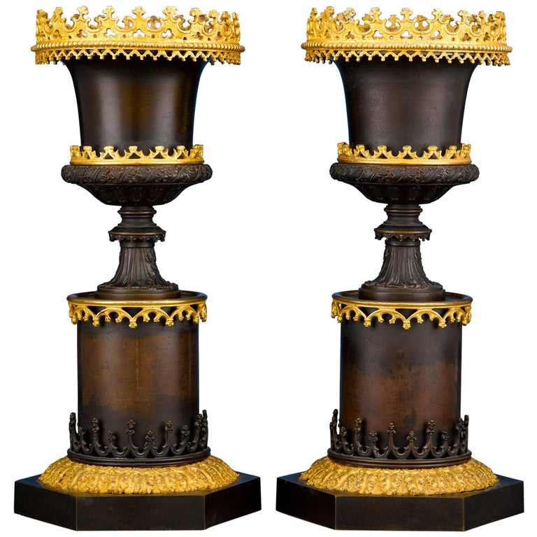 Gothic Two-Color Bronze Urns For Sale