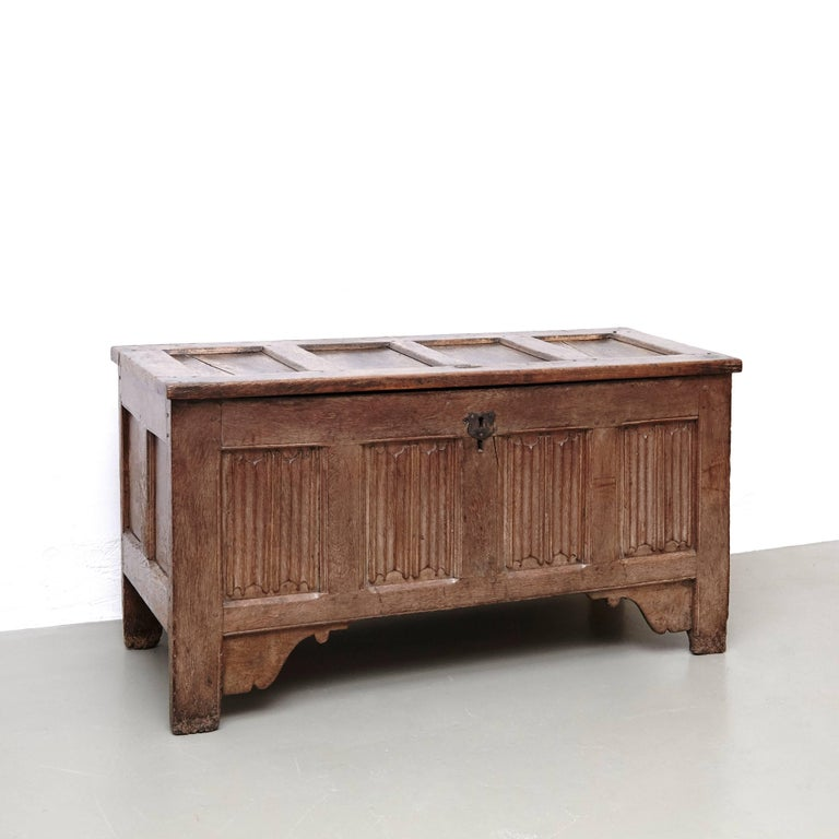 Dutch Gothic 16th Century Wood Chest For Sale