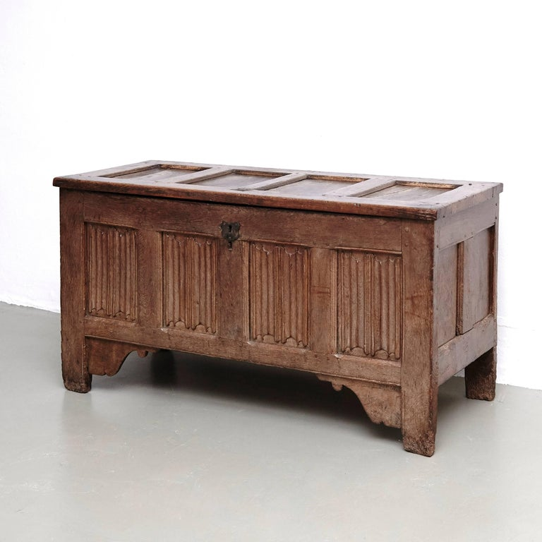 18th Century and Earlier Gothic 16th Century Wood Chest For Sale
