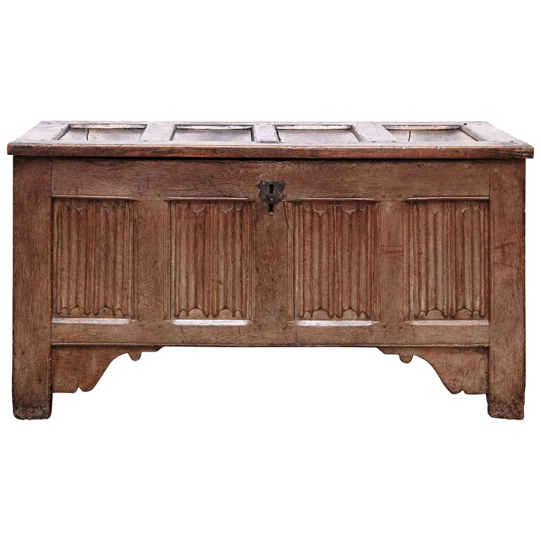 Gothic 16th Century Wood Chest For Sale