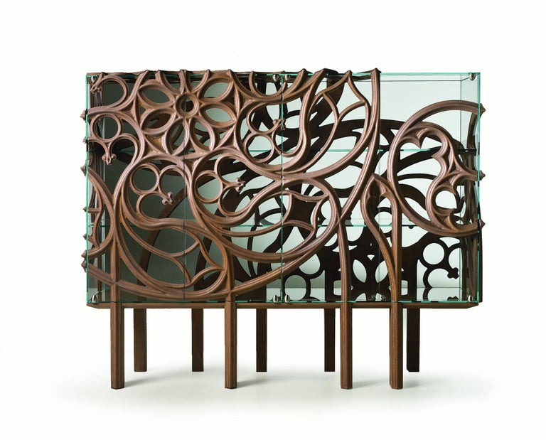 Modern 21st Century Gothik a, Cabinet in Old Grey Wood and Glass For Sale