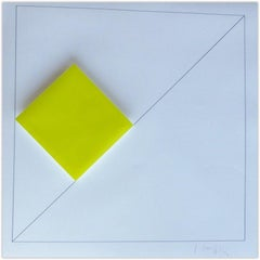 Concrete Geometric Abstract Composition with Yellow