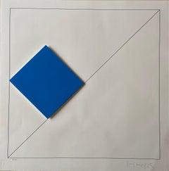 Gottfried Honegger Composition 1 3D square (dark blue)  2015