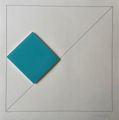 Gottfried Honegger Composition 1 3D square (light blue) 2015