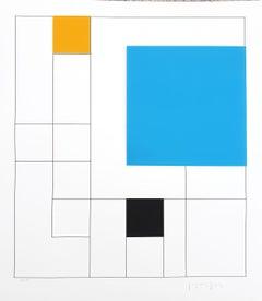 Gottfried Honegger Composition 3 3D squares (blue, orange, black) 2015