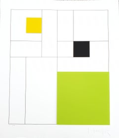 Gottfried Honegger Composition 3 3D squares (green, black, yellow) 2015