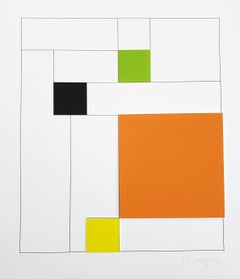 Gottfried Honegger Composition 4 3D squares (orange, green, black, yellow) 2015