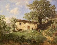 """Gottfried Seelos, Antique Oil painting """"Home of Walther von der Vogelweide"""""""