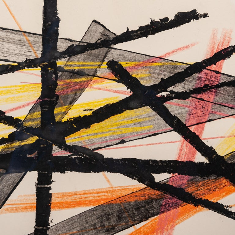 Erwin Schott(1913-1987, Munich) Artist group ZEN 49 (ZEN 49 Group of the non-objective - founded after the 2nd World War)  Gouache Informel / oil paint on thick paper, ca. 1958 - estate stamp on the reverse Professionally framed (Double profiled