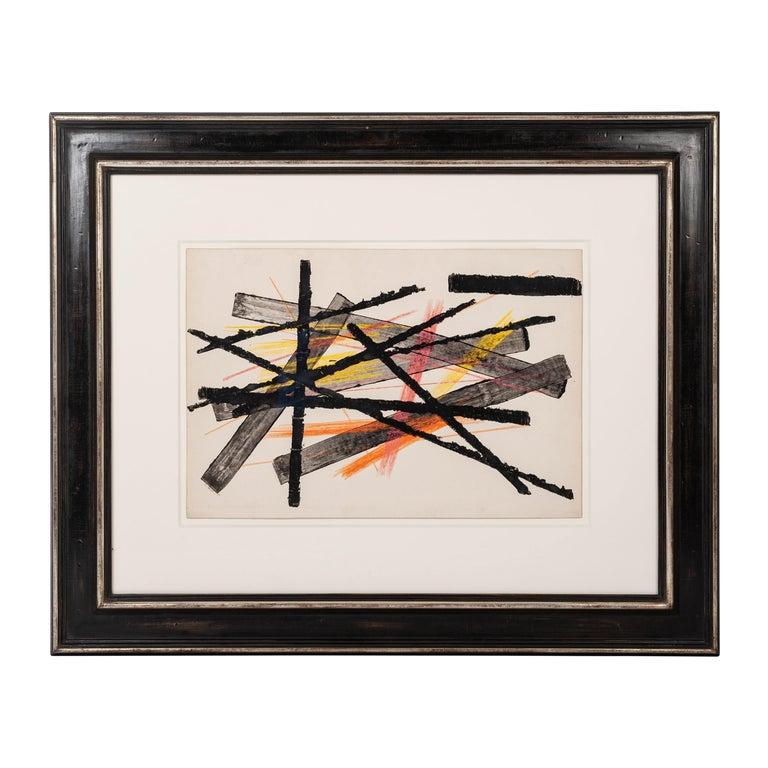 Gouache Informel in Black, Orange and Yellow Lines by Erwin Schott, Munich 1950s For Sale