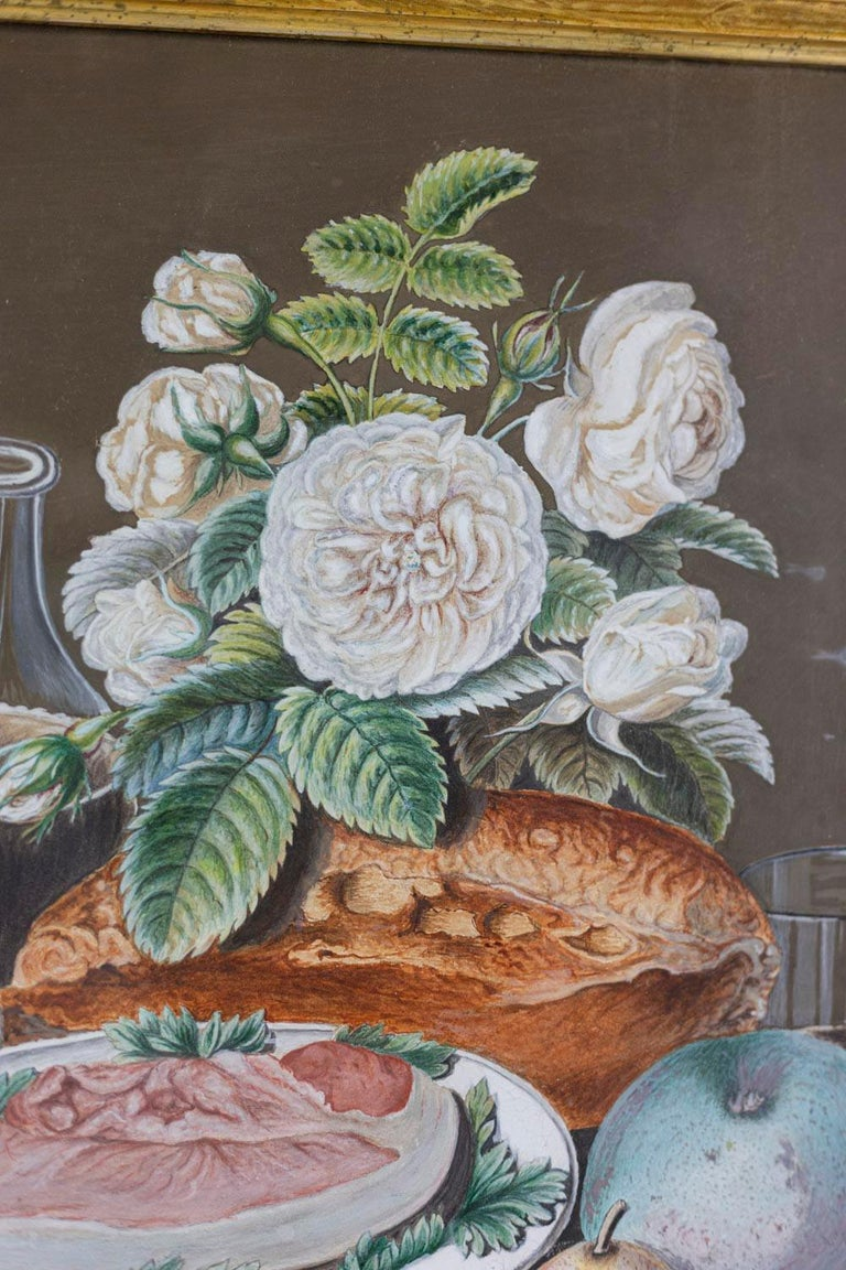 European Gouache on Paper, Still Life Painting, 19th Century For Sale