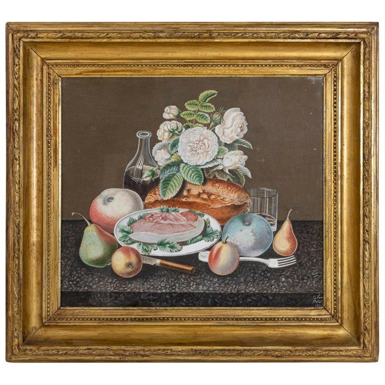 Gouache on Paper, Still Life Painting, 19th Century For Sale
