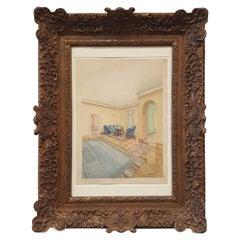 Gouache Painting of an Bauhaus/ Art Deco Interior Scene, Impressionism Frame