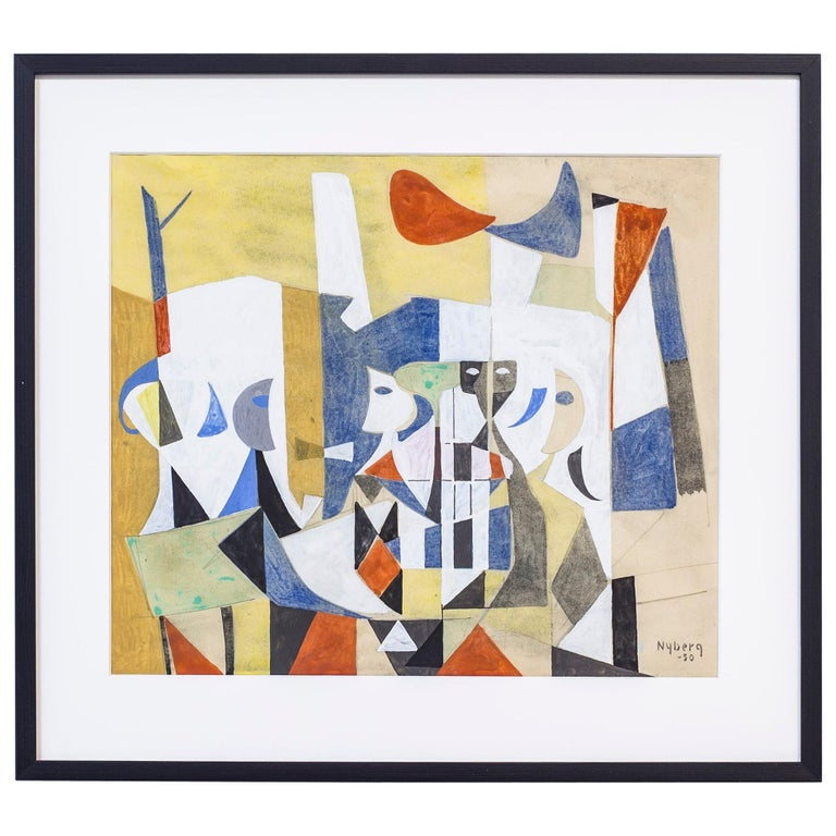 """Gouache Painting """"Skuggor"""" by Tore Nyberg, Sweden, 1950 For Sale"""