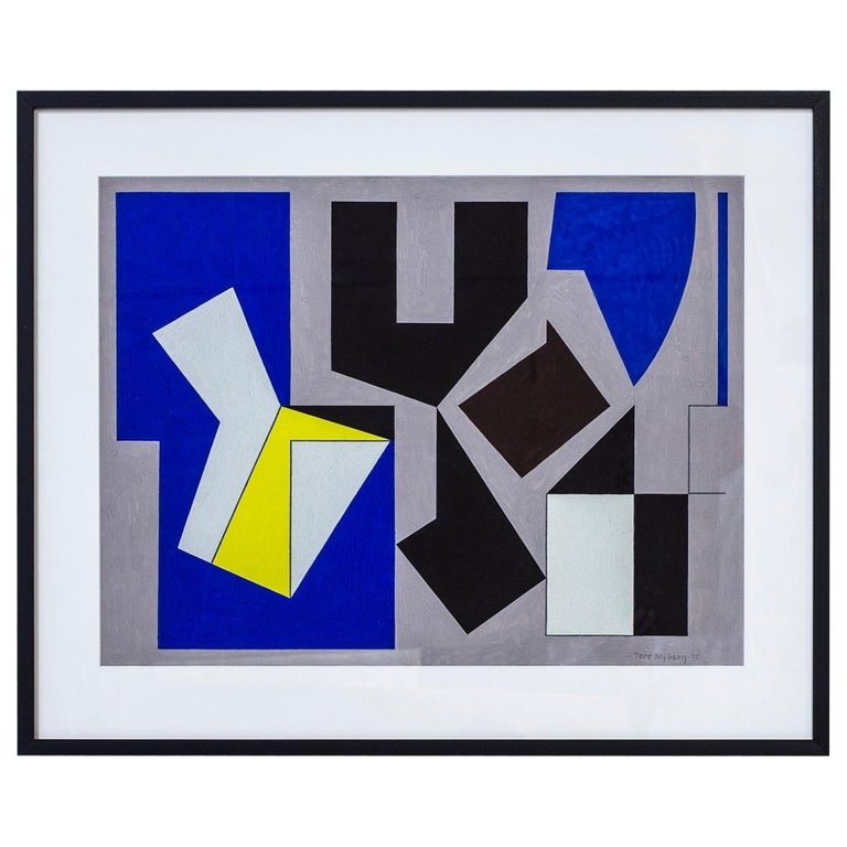"""Gouache Painting """"Yellow"""" by Tore Nyberg, Sweden, 1955 For Sale"""