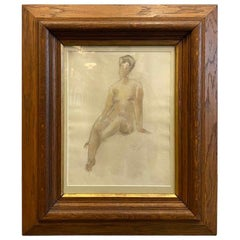 Gouache, Watercolor Female Nude, in Wooden Frame, 1916