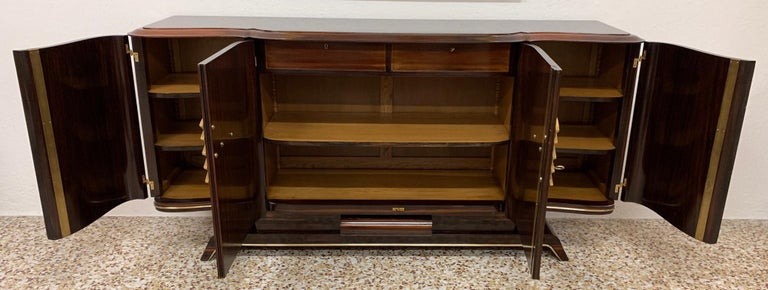 Gouffè Art Deco Macassar and Brass French Sideboard, 1930s For Sale 7