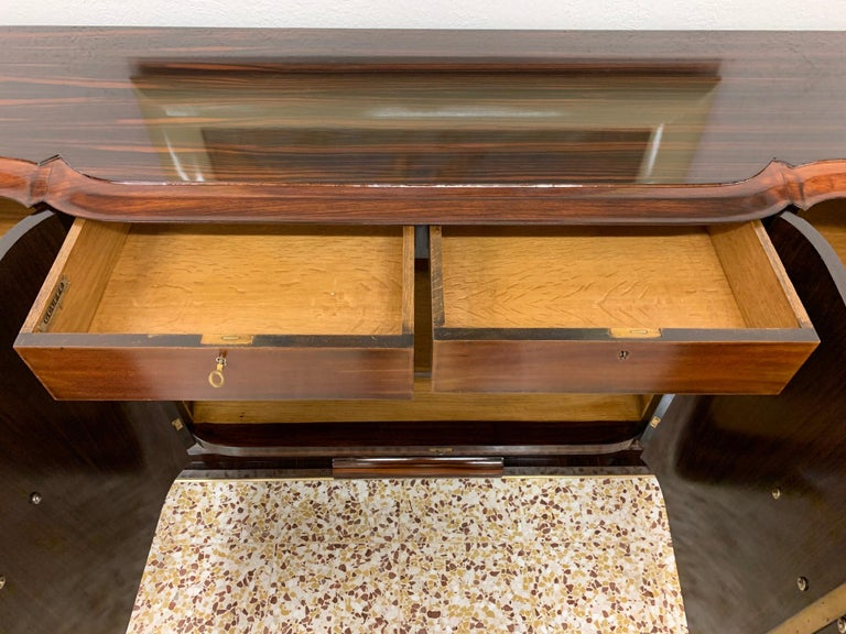 Gouffè Art Deco Macassar and Brass French Sideboard, 1930s For Sale 9