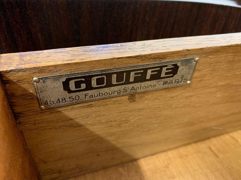 Gouffè Art Deco Macassar and Brass French Sideboard, 1930s For Sale 10
