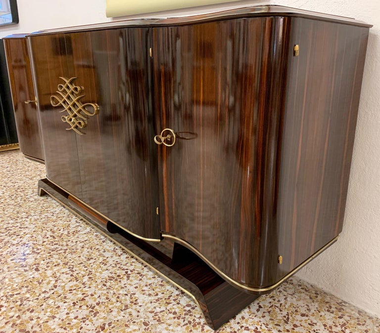 Mid-20th Century Gouffè Art Deco Macassar and Brass French Sideboard, 1930s For Sale