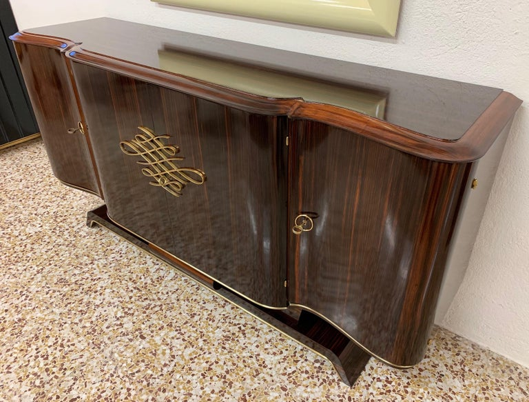 Gouffè Art Deco Macassar and Brass French Sideboard, 1930s For Sale 1