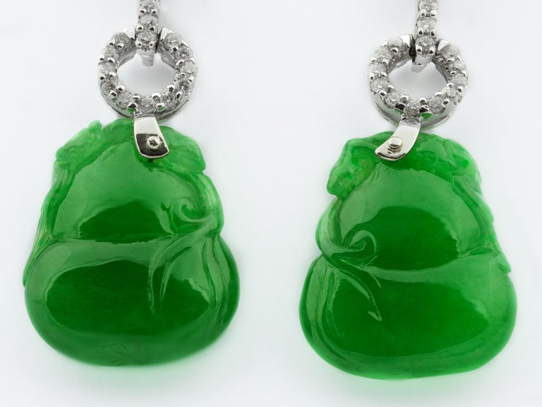 Modern Certified Natural Jade Gourd Bottle Chinese Xian Immortals Drop Diamond Earrings For Sale