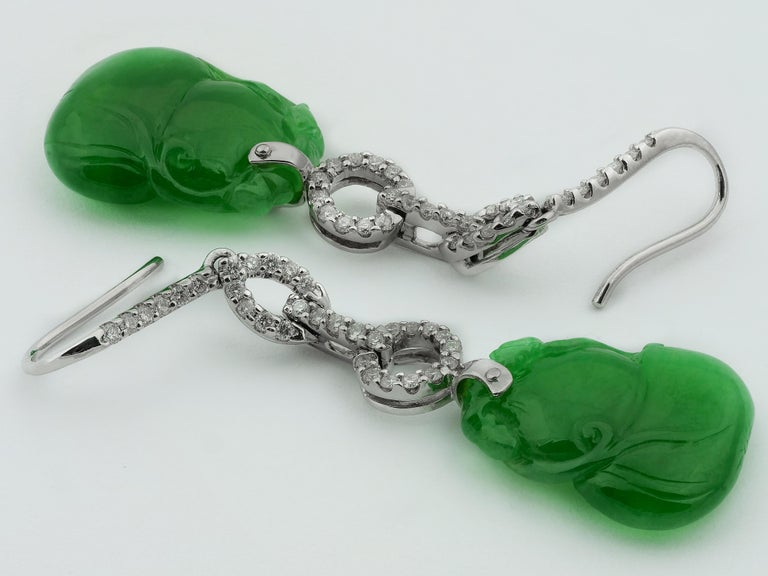 Round Cut Certified Natural Jade Gourd Bottle Chinese Xian Immortals Drop Diamond Earrings For Sale