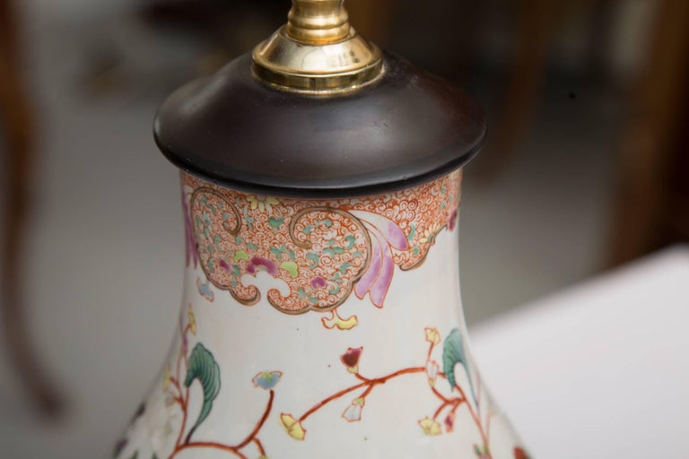 Other Gourd Shaped Table Lamp with Floral Design For Sale