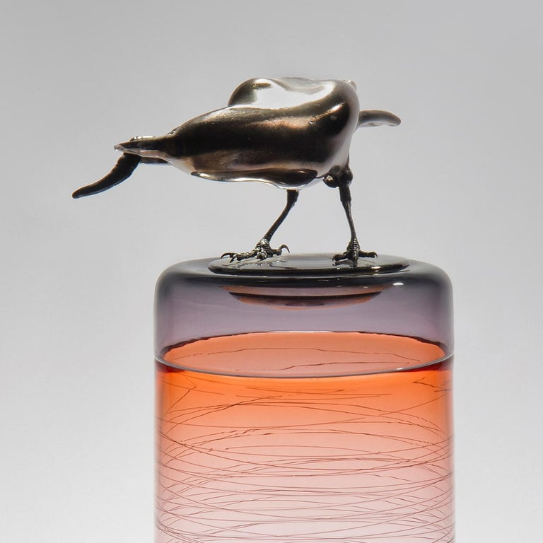 Organic Modern Gourmande, a Unique Glass Sculptural Vase with Black Crow by Julie Johnson For Sale