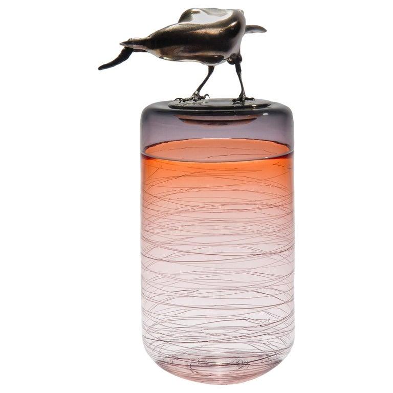 Gourmande, a Unique Glass Sculptural Vase with Black Crow by Julie Johnson For Sale