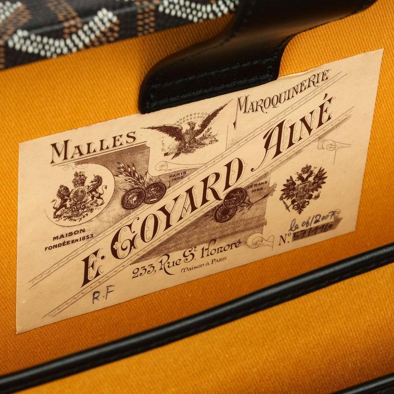 Goyard Black Chevron Coated Canvas Special Order Mallettie Manoir Briefcase  For Sale 6