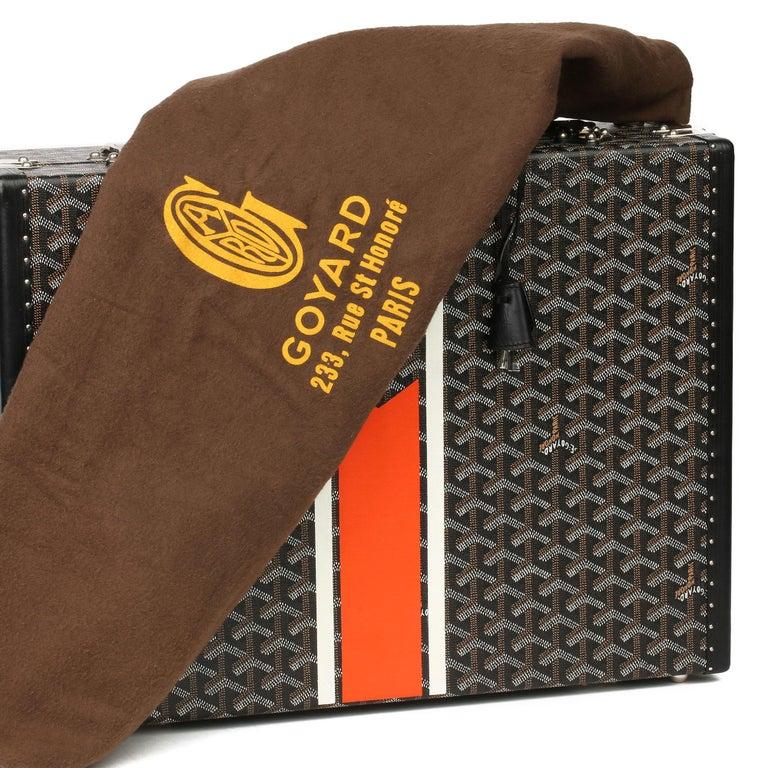 Goyard Black Chevron Coated Canvas Special Order Mallettie Manoir Briefcase  For Sale 7