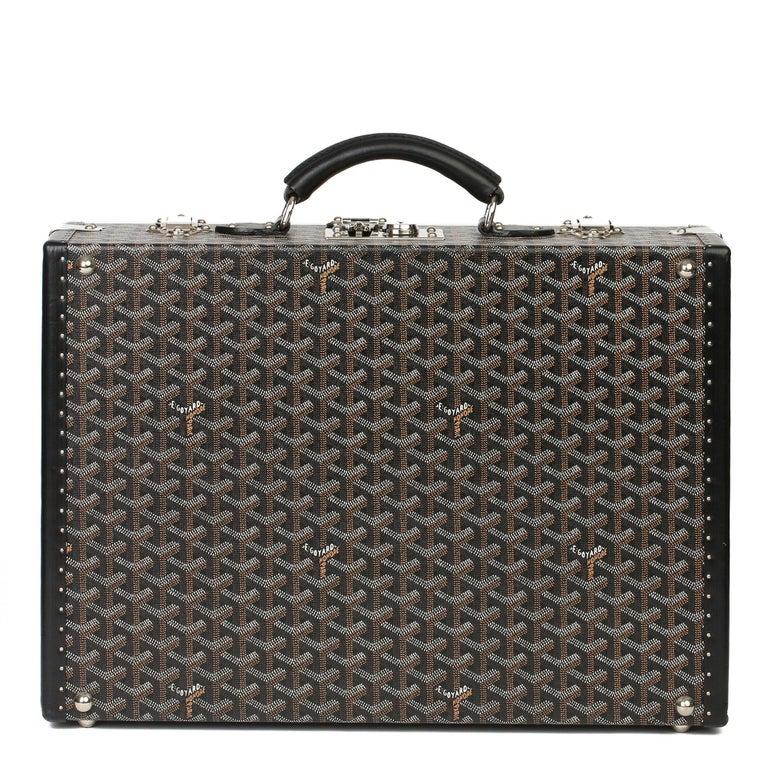 Goyard Black Chevron Coated Canvas Special Order Mallettie Manoir Briefcase  For Sale 1