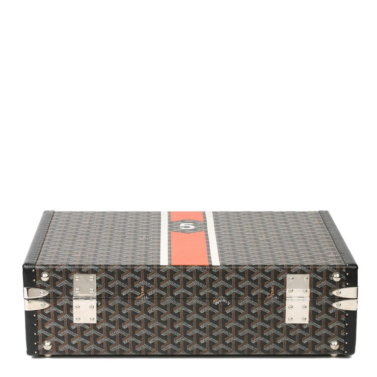 Goyard Black Chevron Coated Canvas Special Order Mallettie Manoir Briefcase  For Sale 2