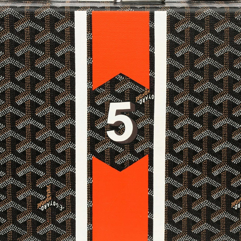 Goyard Black Chevron Coated Canvas Special Order Mallettie Manoir Briefcase  For Sale 3