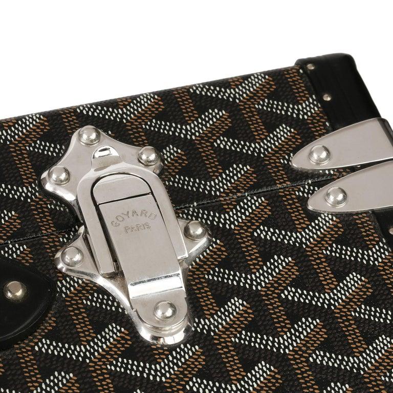 Goyard Black Chevron Coated Canvas Special Order Mallettie Manoir Briefcase  For Sale 4