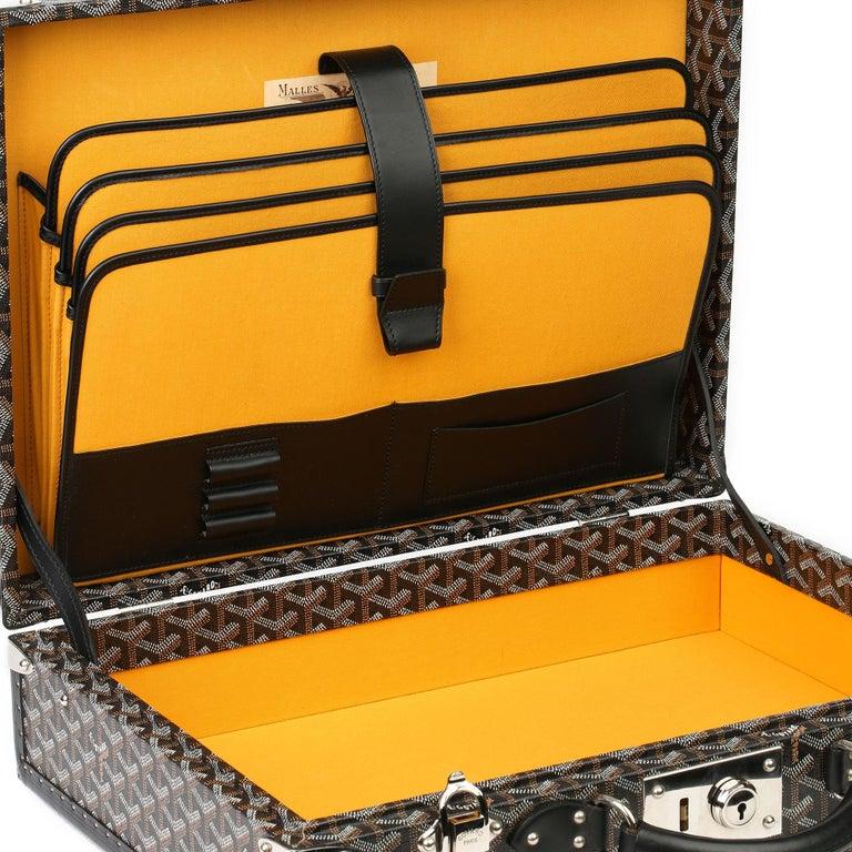 Goyard Black Chevron Coated Canvas Special Order Mallettie Manoir Briefcase  For Sale 5