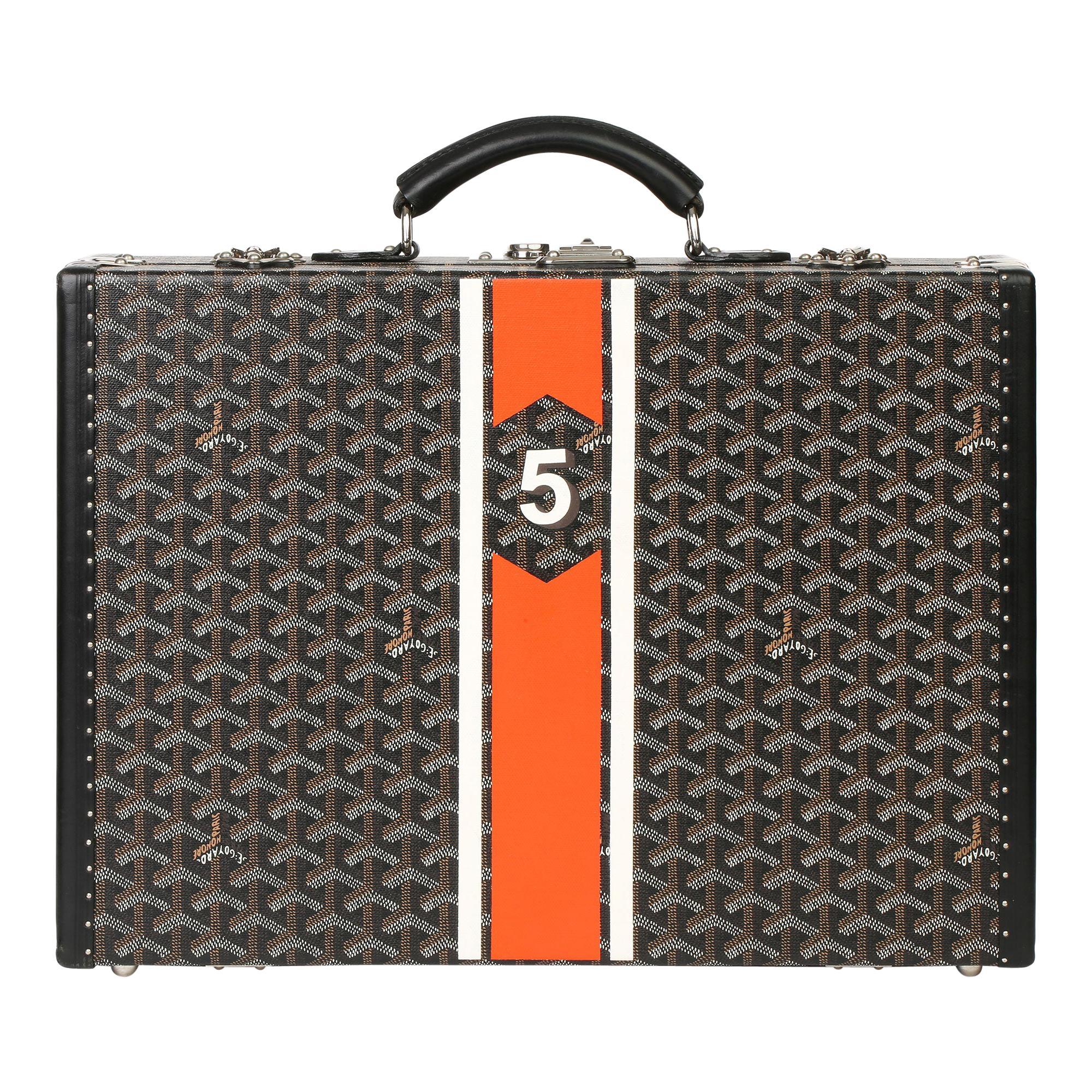 Goyard Black Chevron Coated Canvas Special Order Mallettie Manoir Briefcase