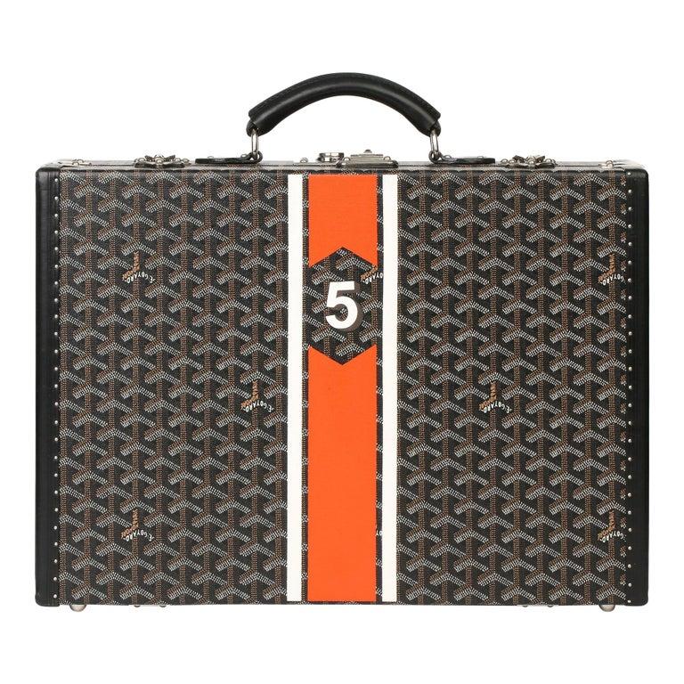 Goyard Black Chevron Coated Canvas Special Order Mallettie Manoir Briefcase  For Sale